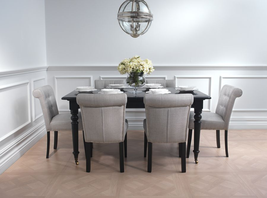 High Gloss French Style Black Dining Table And 4 Chair Set