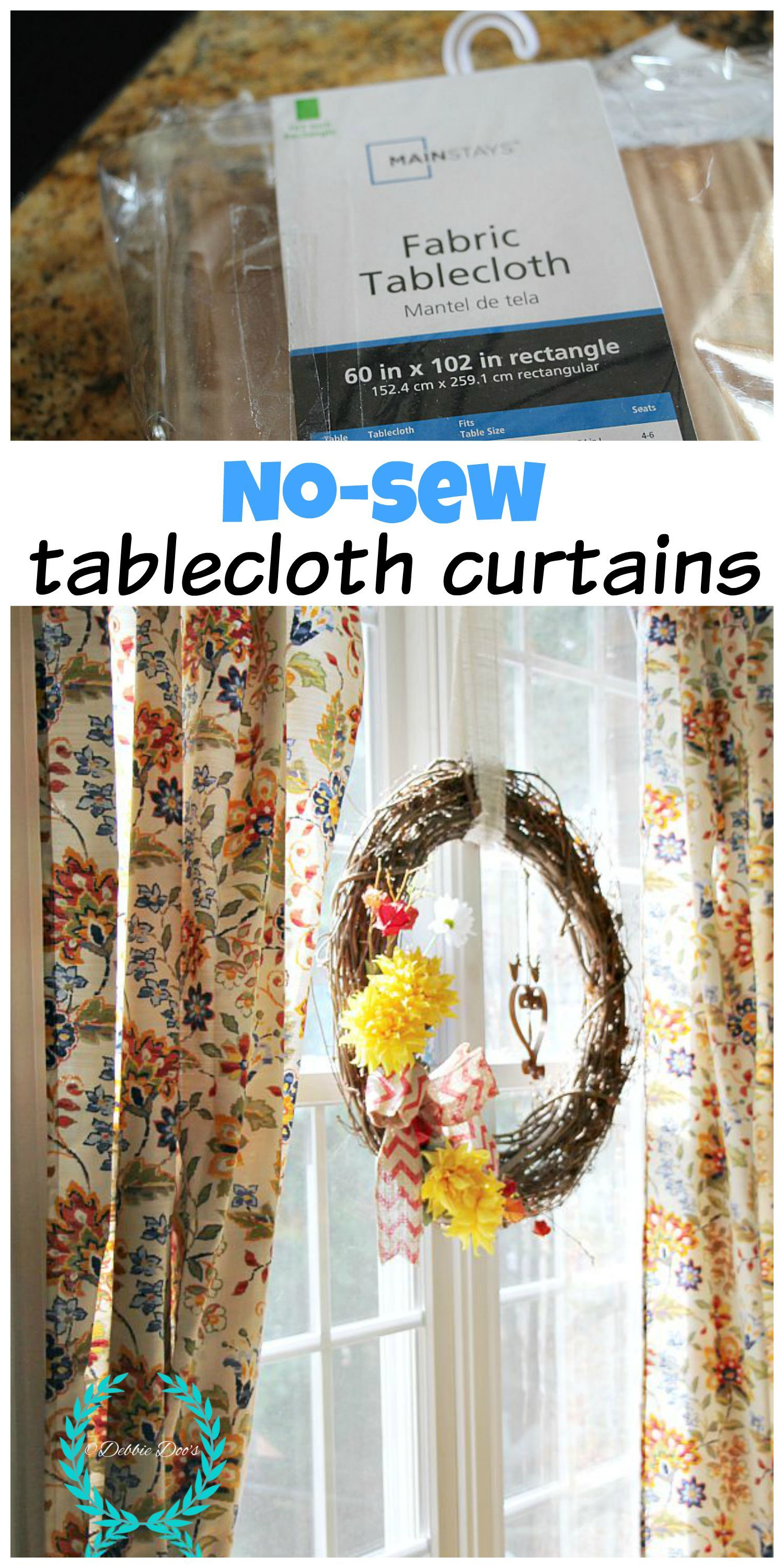 Diy No Sew Curtains No Sew Tablecloth Curtains Tablecloth Curtains Window And Craft