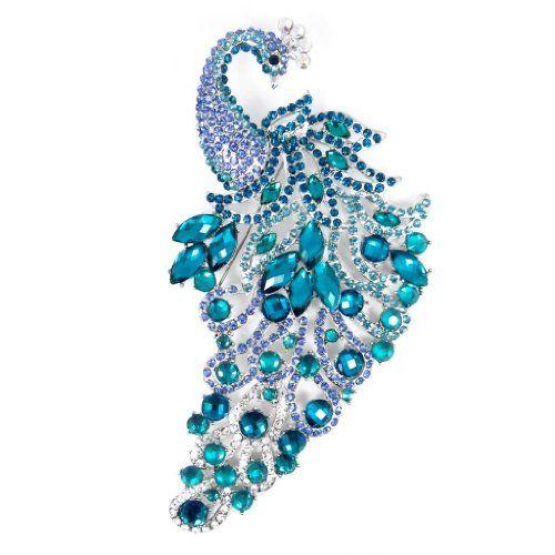 Silver-Tone 5.6 Inch Elegant Peacock Blue Austrian Crystal Brooch Pendant