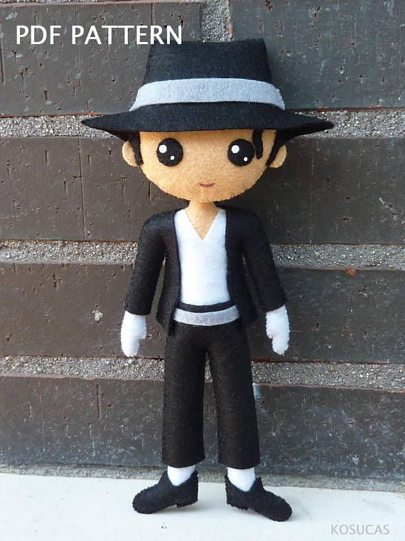 PDF tutorial to make a felt doll inspired in Michael Jackson