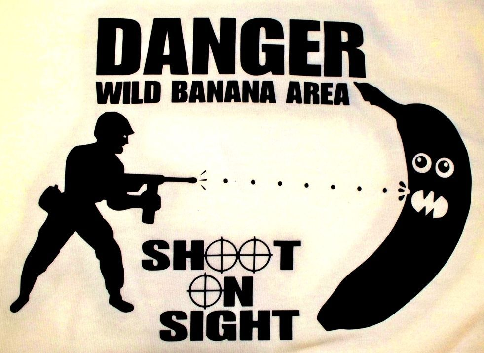 DANGER WILD BANANA AREA SHOOT ON SIGHT gift mens t-shirt funny joke punk BMX BN in Clothes, Shoes & Accessories, Men's Clothing, T-Shirts | eBay