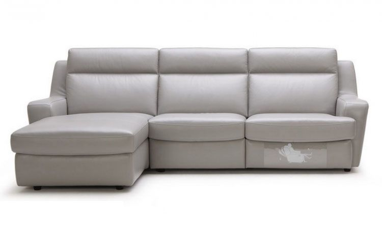 Modern Leather Corner Recliner Sofa Sectional In Grey