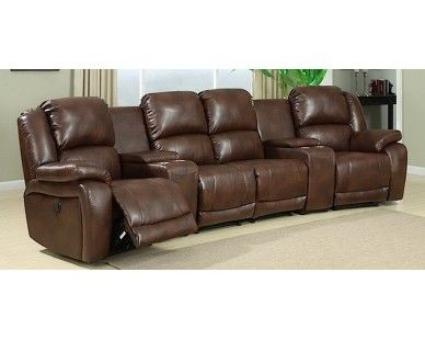 Contemporary Brown Blended Leather Reclining Media Sectional   Sam Levitz  Furniture