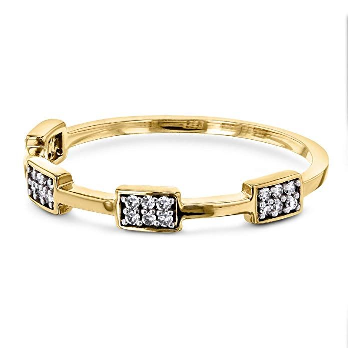 Amazon.com: Three Piece Stacked Diamond Rings: Jewelry ...