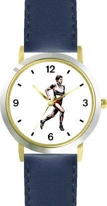 Man Runner No.3 Track & Field - WATCHBUDDY® DELUXE TWO-TONE THEME WATCH - Arabic Numbers - Blue Leather Strap-Children's Size-Small ( Boy's Size & Girl's Size ) WatchBuddy. $49.95