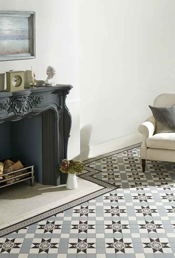 Victorian Grey And Black Floor Tiles Living Room Pinterest