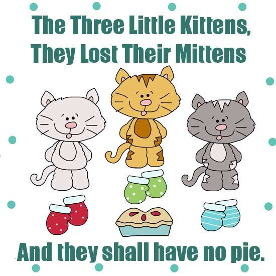 Three Little Kittens Clipart For Applique Line Drawings Applique