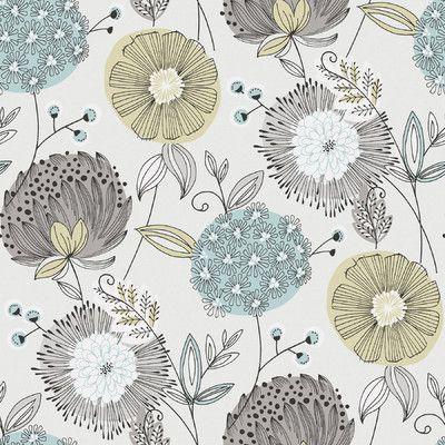 "Wall Vision 33' x 20.9"" Valda Modern Floral Wallpaper"