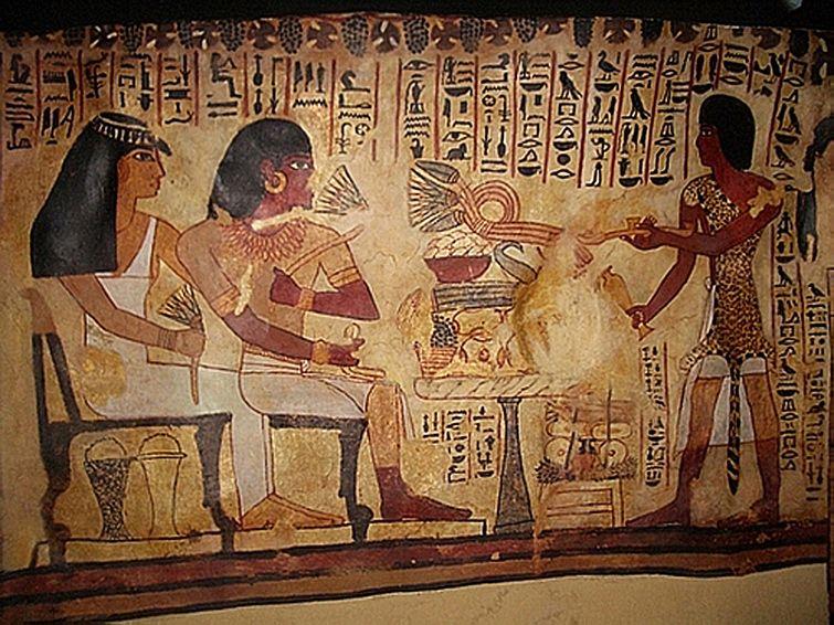 Scène de purification avec un prêtre-sem, tombe de Sennefer, 18e dynastie…