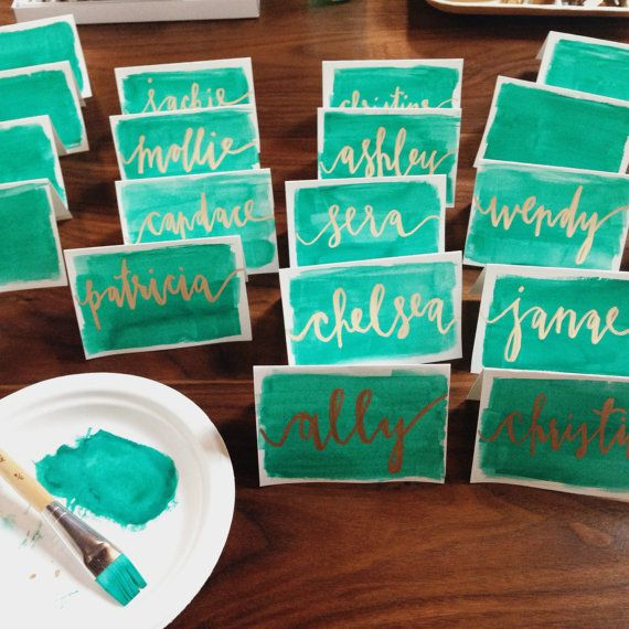 Custom Calligraphy & Watercolor Place Cards by ironandfern on Etsy