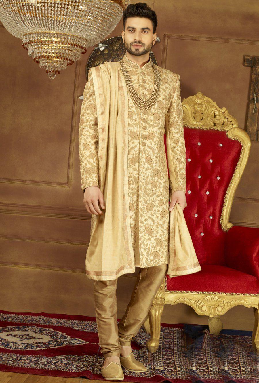 Beige and Gold Mens Sherwani Desi Royale Designer
