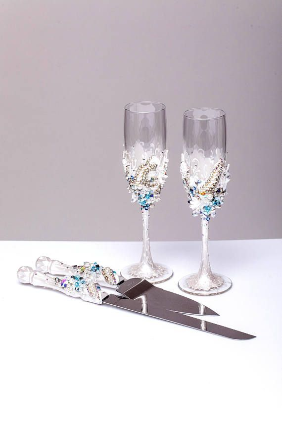 Personalized Wedding Gles And Cake Server Set Cutter Beach Toasting Flutes Blue Wedd