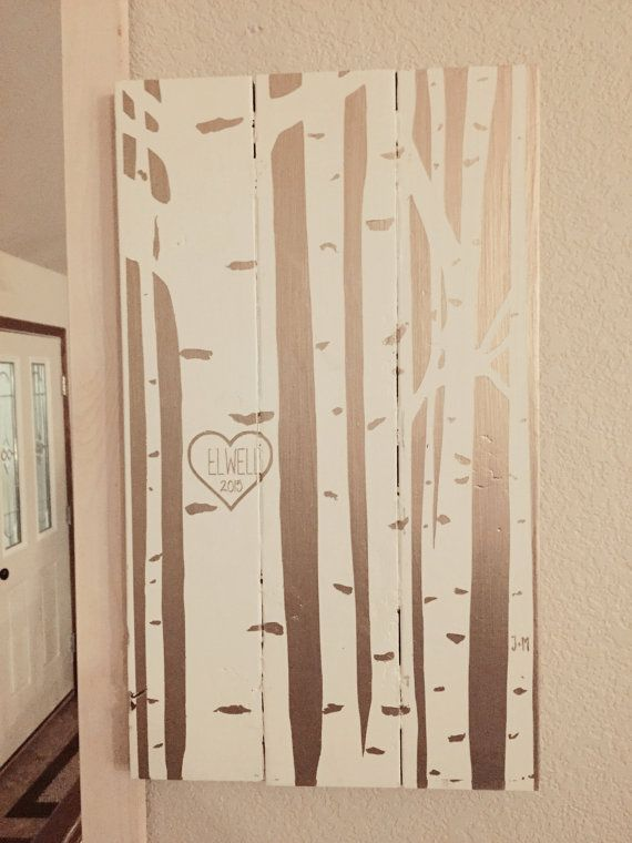 Carved Heart Lovers' Trees // Gold & White by BlueTimberSignCo