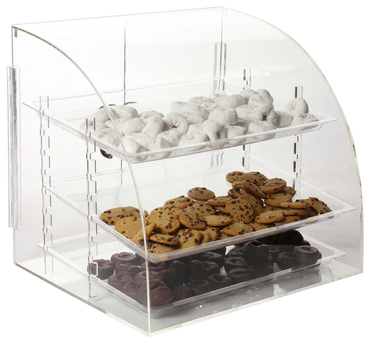 Acrylic Food Display Case With 3 Removable Trays Curved Front Pastry Display Bakery Display Bakery Display Case
