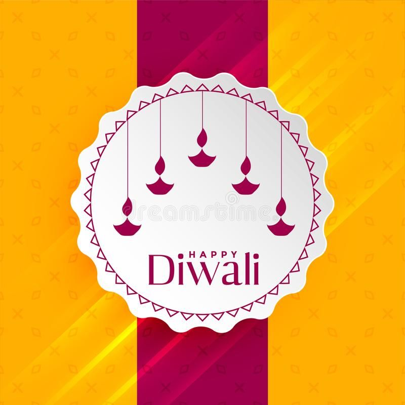 Happy Diwali Greeting With Hanging Diya Stock Vector - Illustration of illustration, background: 129499500