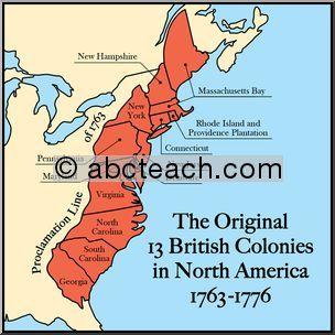 13 british colonies in north america | color clip art ...