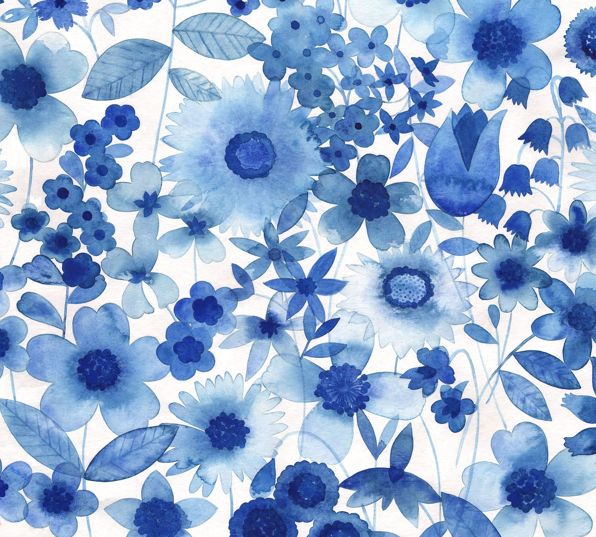"""""""Delft Blue Floral"""" - A garden floral design painted in watercolour by Australian textile designer and illustrator Natalie Ryan"""