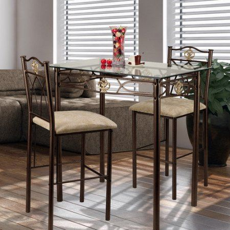 Delightful Crown 3 Piece Glass Top Counter Height Pub Table Set