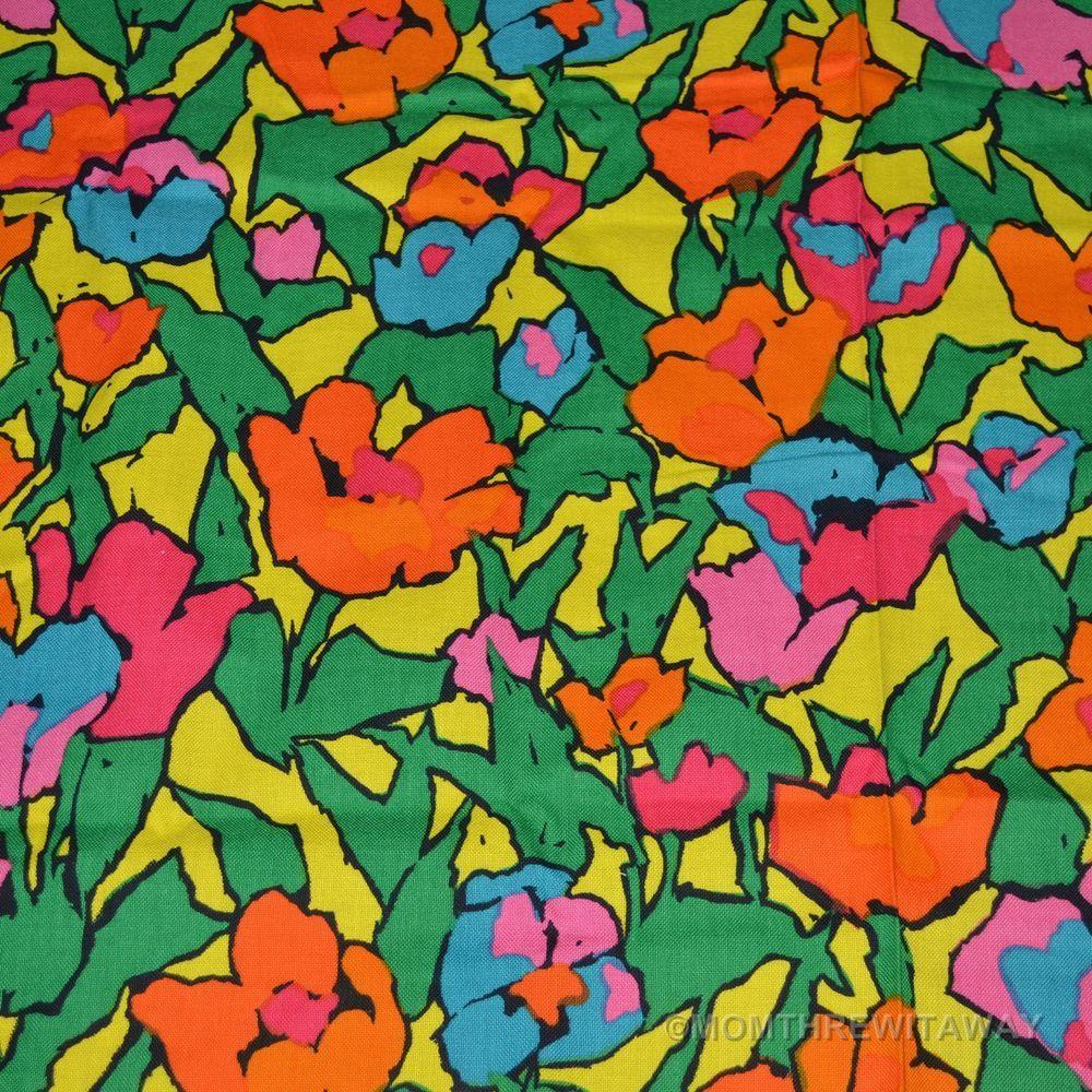 Love flower power daisy graffiti print cotton fabric 60s 70s retro - 1960 S Neon Electric Pop Art Floral Flower Power Mid Century Fabric Textile