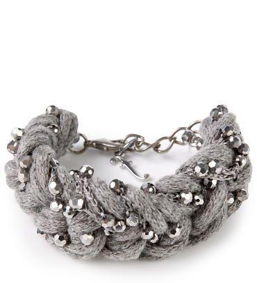FABIANA FILIPPI - Geflochtendes Armband mit Schmucksteinen Grau