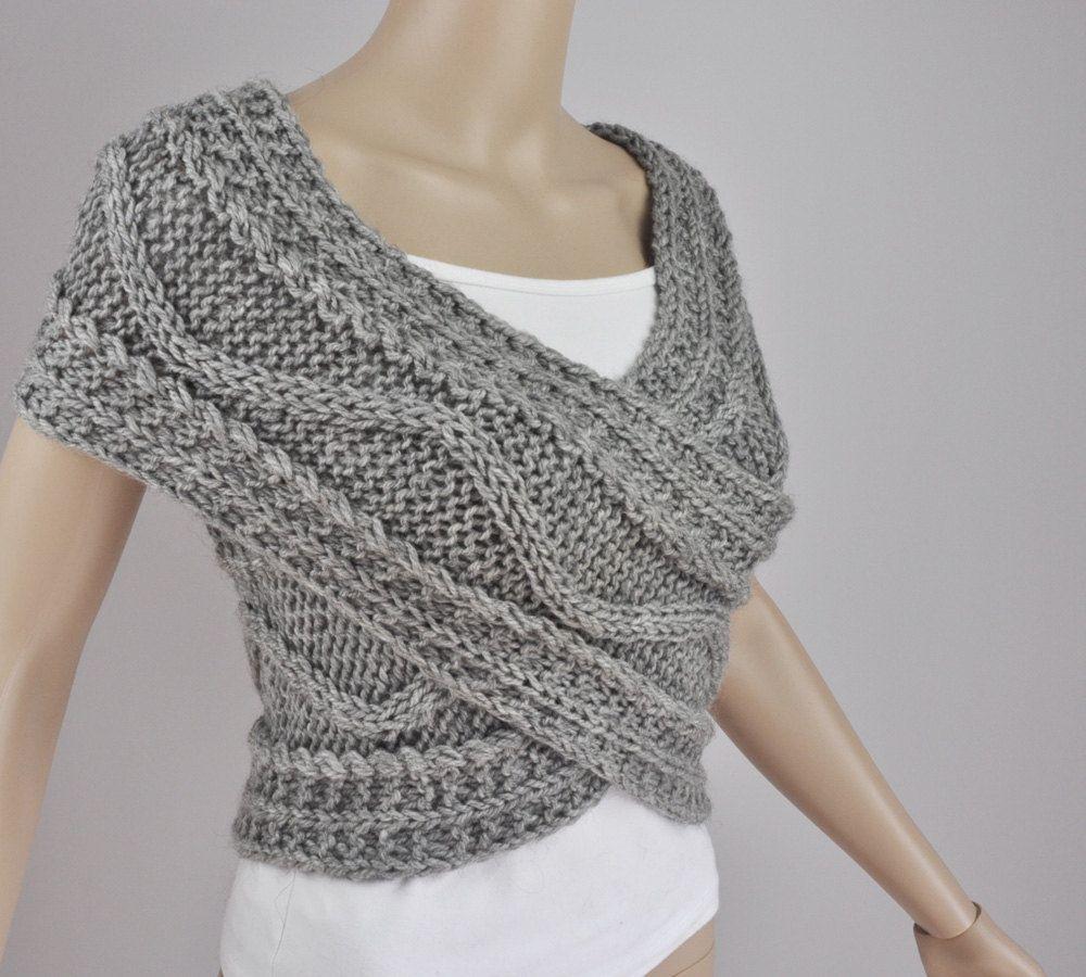 Chaleco+suéter+Cruz+capucha+cuello+caliente+en+gris+por+MaxMelody