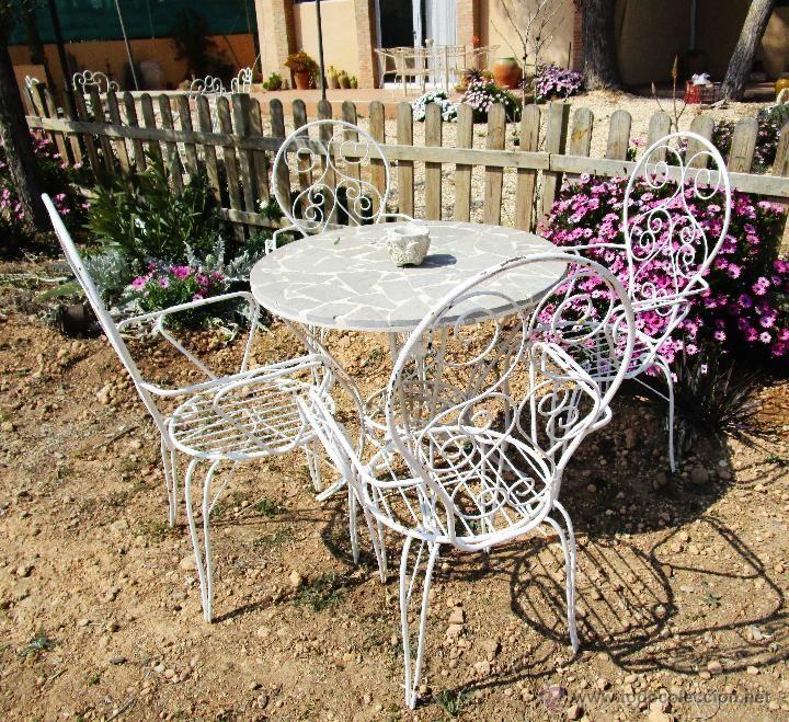 4 sillas antiguas hierro forja exterior jardin vintage en for Sillas para terraza y jardin