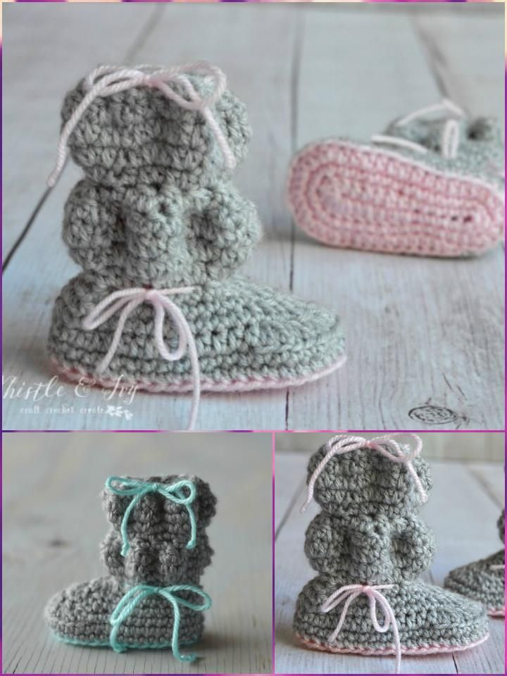 Crochet Baby Booties - Top 40 Free Crochet Patterns | Espere, Tejido ...