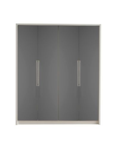 100% authentic deae5 96e44 Minsk-High-Gloss-Modern-Wardrobe-Grey-4-Door-RRP-395-Reduced ...