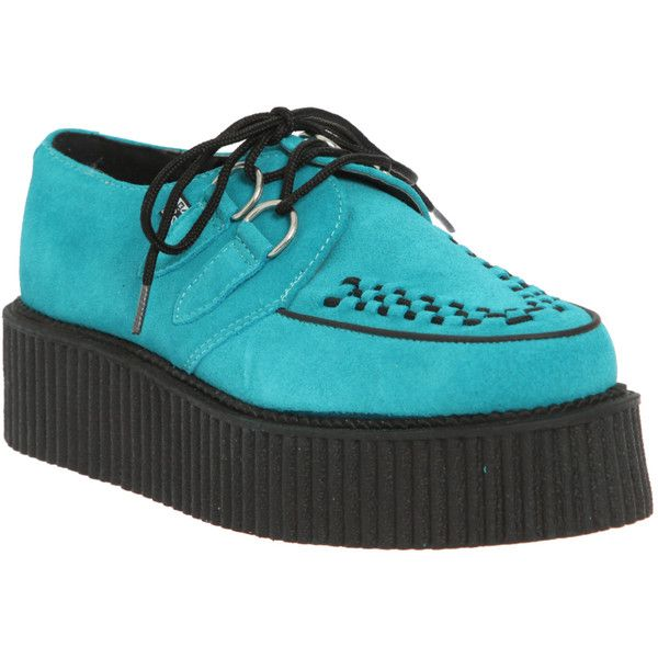 T.U.K. Turquoise Suede Mondo Creepers | Hot Topic ($77) ❤ liked on Polyvore
