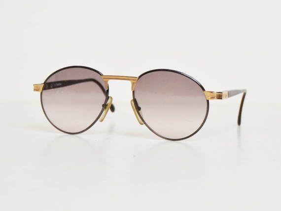 78f00c18c4a78 Vintage 80s Hugo Boss CARRERA Sunglasses Round Lens Black and Gold 5154