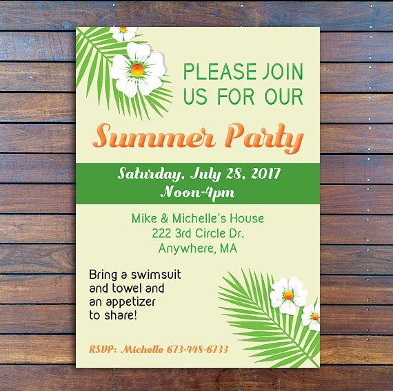 Party Invitation Digital Party Invite DIY Summer Invite Print