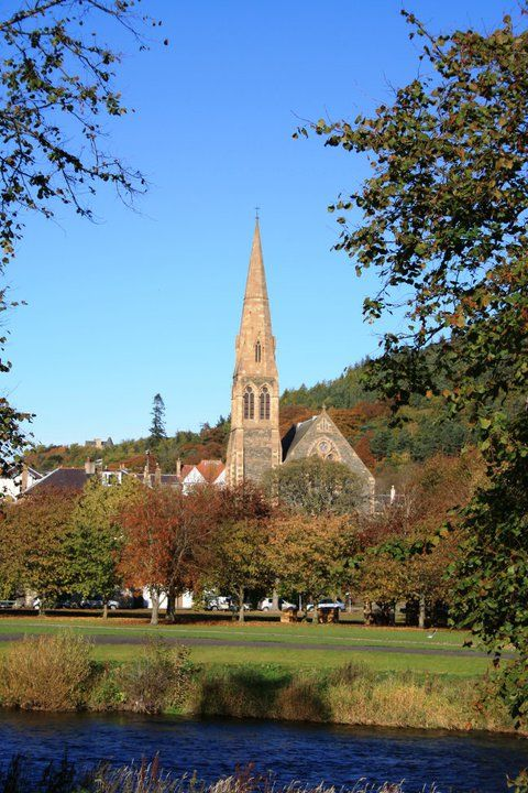 Peebles on the banks of the River Tweed, Scottish Borders