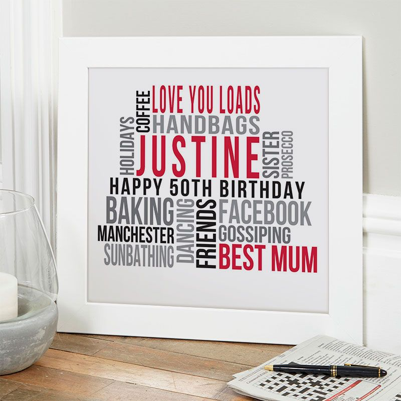 Personalised 50th Birthday Gift For Her Of Text Art Casino Colour Option Beautiful