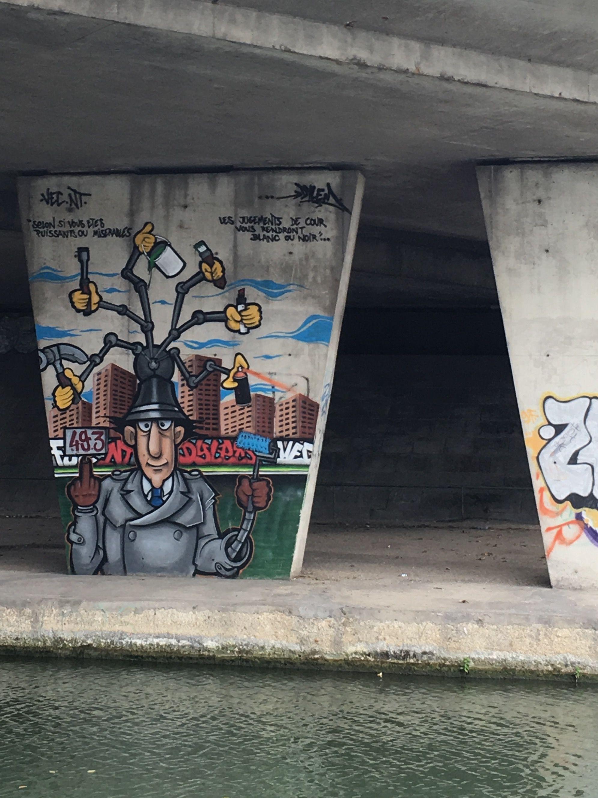 Inspecteur gadget canal de l ourcq personnage de dessin anim street art paris ile de france - Inspecteur gadget dessin anime ...