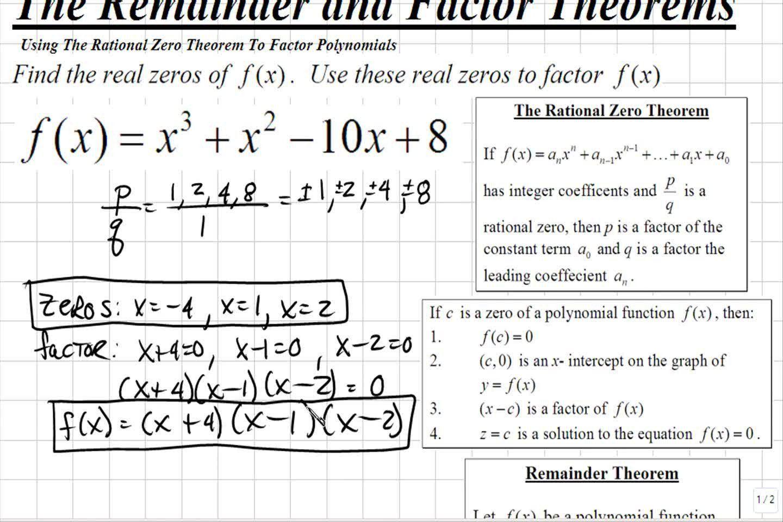 Rational Root Theorem Worksheet