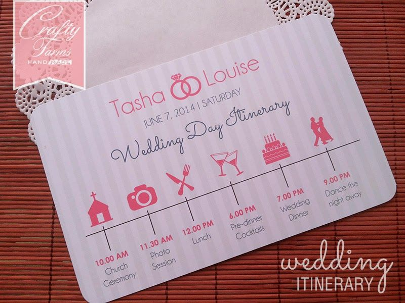 Wedding Rsvp Timeline Etiquette: Wedding Day Itinerary Card With Icons, Church Ceremony