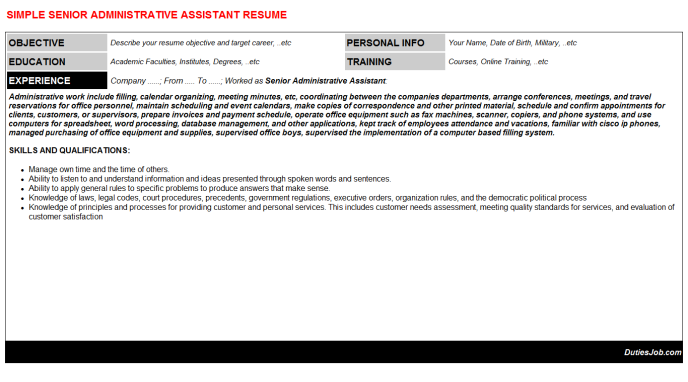 Sample Cover Letter For Resume Administrative Assistant Senior Administrative Assistant Resumes And Cover Letters Samples .