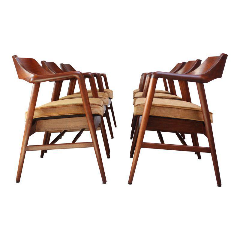 Set Of Six W H Gunlocke Sculptural Walnut Armchairs Armchair
