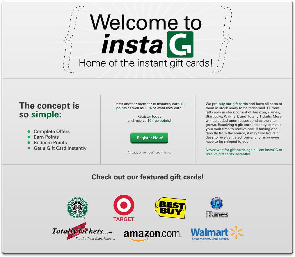 Instagc Is An Amazing Site Because You Never Need To Place An Order With Them They Literally Give You Your Gift Card Instantly Gift Card Earn Gift Cards Cards