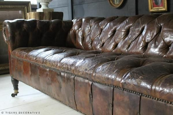 Mid 20th Century Leather Sofa Retaining Its Original Leather Which