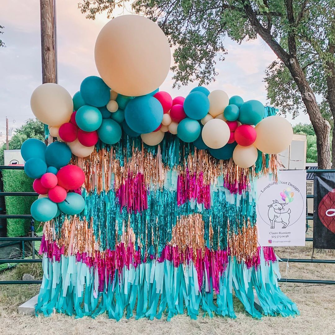 "Laughing Goat Design on Instagram: ""✨More fun from Cattle Baron's Ball! Who doesn't love a colorful backdrop to take pictures?✨ Our streamer backdrop is available for rent, DM…"""