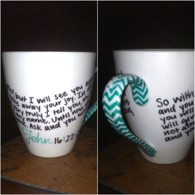 bible verse in sharpie on coffee mugs with design on handle