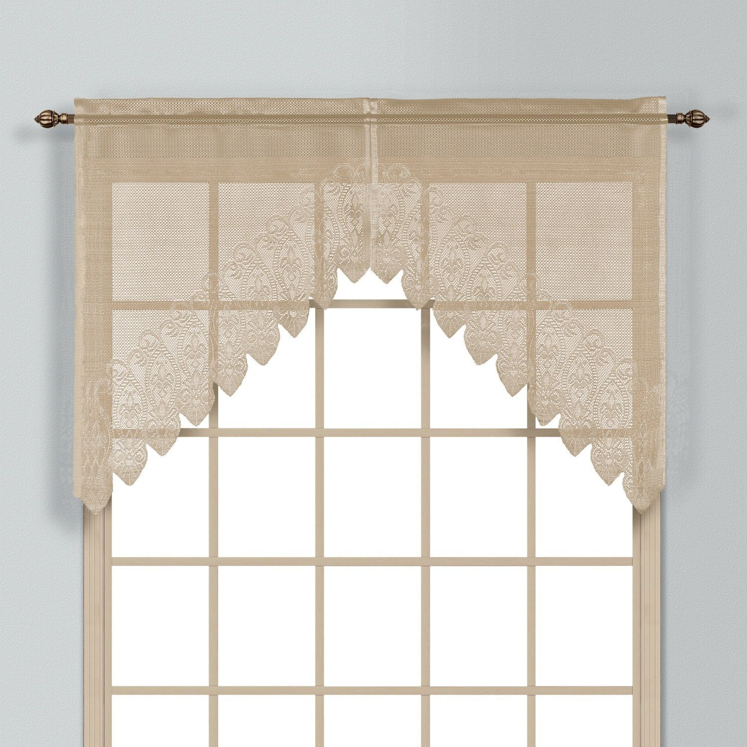 United valerie macrame and sheer voile kitchen tiers and toppers