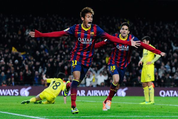 Neymar of FC Barcelona celebrates after scoring his team's second goal during the La Liga match between FC Barcelona and Villarreal CF at Camp Nou on December 14, 2013 in Barcelona, Catalonia.
