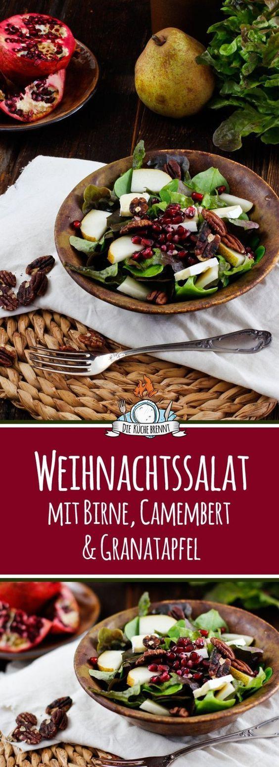 Winter Salat mit Birne, Granatapfel und Camembert