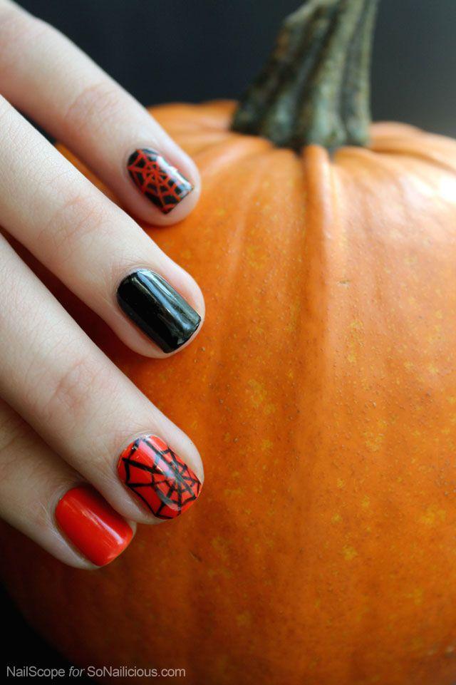 Tutorial Halloween Spider Web Nail Art Spider Webs Mani Pedi And