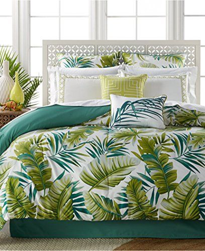 Tropical Palm Fronds Leaves Beach House Queen Comforter Set 7 Piece Bed In A Bag Homemade Wax Me Tropical Bedding Sets Tropical Bedroom Decor Tropical Bedrooms
