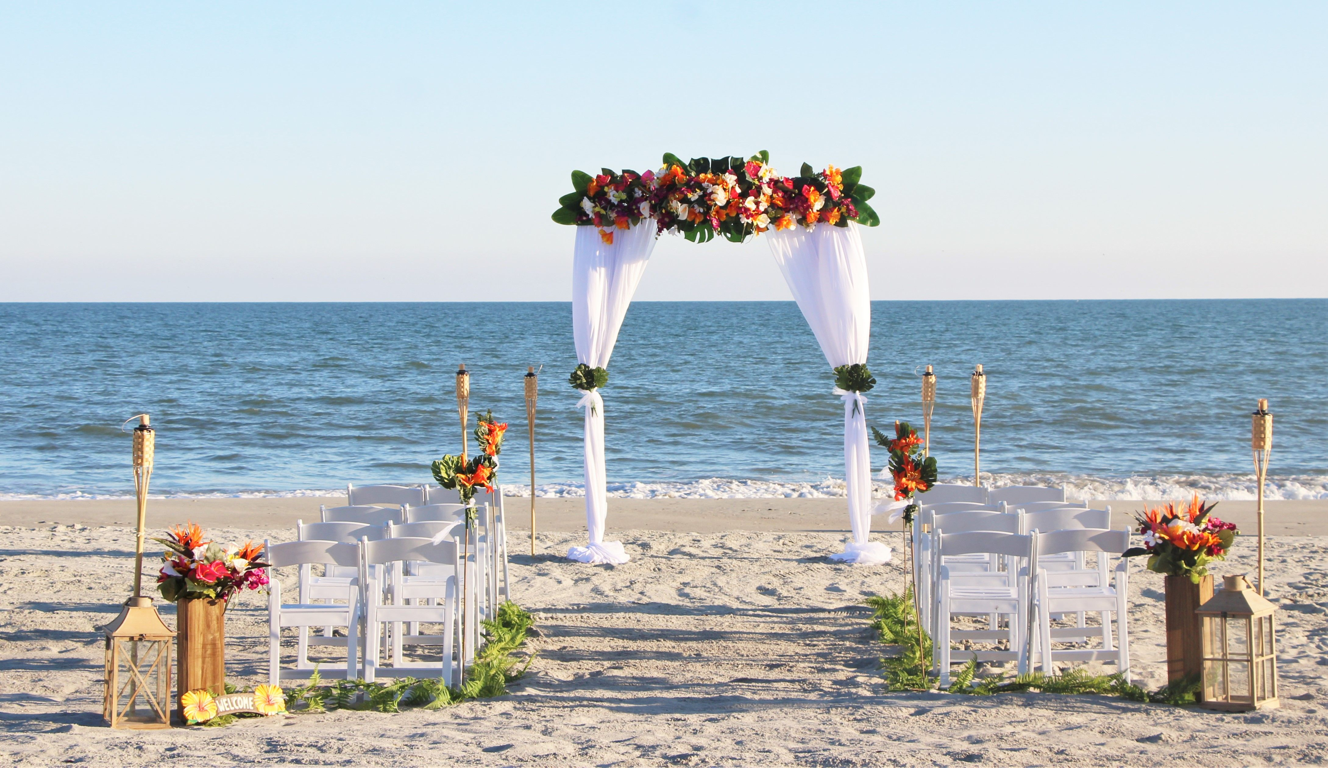 Tropical Wedding Arbor In 2020 Myrtle Beach Wedding Beach Wedding Arbors Beach Wedding