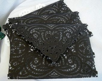 Doily Lace Envelopes, Liners, Graduation Sexy Handmade, Black, Shabby Chic  Wedding Liners, Large A7 Size 75 Piece Set