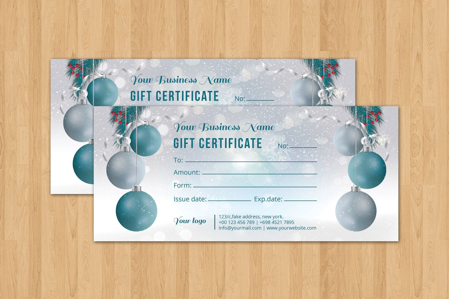 Christmas Holiday Gift Certificate Template  Multipurpose Gift